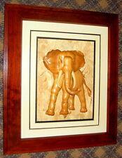 "Fantastic Ray Muniak Signed Natural Wood Framed 3D Wooden Elephant - 22"" x 19"""