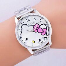 hello kitty cat cartoon children kids women fashion quartz wrist analog watch