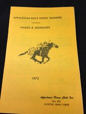 Brochure Booklet Appaloosa Race Horse Trainers Names And Addresses Book 1973