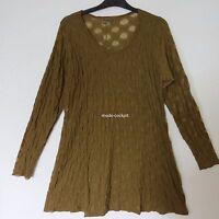 BORIS INDUSTRIES Lagenlook Tunika Long Shirt Tüll Stretch oliv-grün 44-48(2)