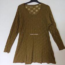 BORIS INDUSTRIES Lagenlook Tunika Long Shirt Tüll Stretch oliv-grün 50-54 (3)
