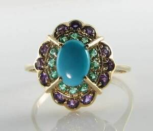 LUSH 9CT 9K GOLD TURQUOISE EMERALD AMETHYST ART DECO INS CLUSTER RING