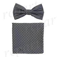 New Men's micro fiber Pre-tied Bow tie & hankie silver black dots formal wedding
