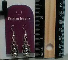 Handmade Silver Plated 3D Lantern Charm Dangle Earrings - Free Shipping