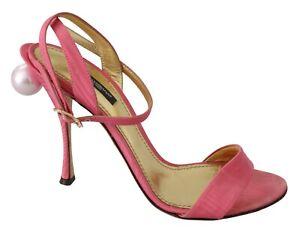 DOLCE & GABBANA Shoes Ricamo Pink Heels Ankle Strap Sandals EU39 / US8.5 $900