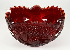 Vintage Cranberry Cut Glass Serving Bowl Ruby Red Thick Heavy Deep Dark Jagged