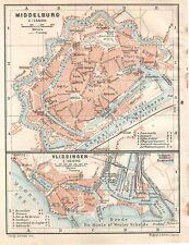 Antique map Middelburg Vlissingen Zeeland plattegrond plan Holland  1914