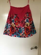 George Size 12 Pink Floral Cotton Lined Skirt