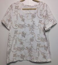 Liz & Me Knit top 0X 16W Short Sleeve Stretch Cotton White With Gold & Brown