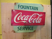 Coca Cola advertising Fountain service Embossed COKE 3d metal sign soda pop cool