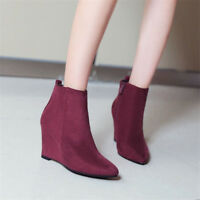Women's Pointed Toe Ankle Boots Hidden Wedge Heels Suede Booties Side Zip Shoes