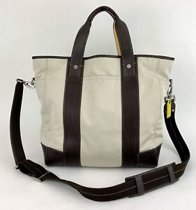 Coach Beige/Brown Nylon & Leather Crossbody 05364 Large Travel Bag Tote Duffle