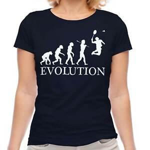 BADMINTON EVOLUTION OF MAN LADIES T-SHIRT TEE TOP GIFT RACQUET