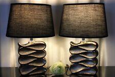 2 Lampen schwarz braun Nachttischlampe Leuchte Keramik Tischlampe Tischleuchte