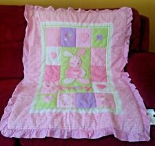 Small Wonders Pink Bunny Ruffled Crib Quilt Comforter Gingham Check & Hearts