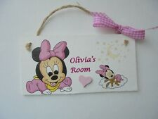 Minnie Mouse Handmade Personalised Baby Childs Kids Door Wall Room Plaque Gift
