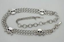 Women Emo Fashion Belt Silver Metal Chain Skeleton Skull Gothic Charm Biker S M
