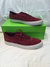 Genuine Mens Huf Essex Wine Red Gold Detail Velor Skate Shoes UK Size 8 BNIB
