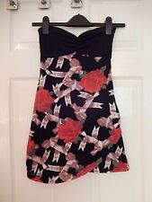 Motel Boobtube Floral Ribbon Red Black & White Dress - Size XS Brand New