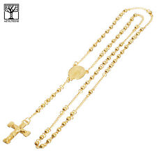 "4 mm Rosary Stainless Steel in Gold Guadalupe Jesus Cross 26"" Necklace SPY 502 G"