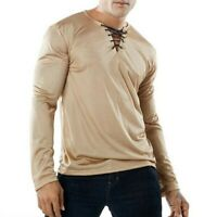 Fashion Men Basic Tops Blouses V-neck Long Sleeve Solid Youth Casual Sexy Shirts