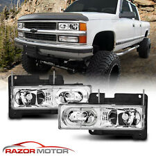 [Led Halo] 1988-1998 Chevy Gmc Silverado Suburban Tahoe C10 C/K Headlights Pair (Fits: Gmc)