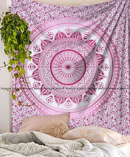 Indian multi ombre mandala large tapestry cotton wall hanging bedspread blanket
