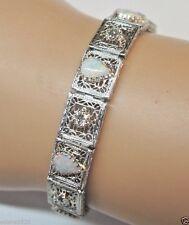 Antique Vintage Art Deco Diamond Opal Bracelet 14K Ostby & Barton Filigree Fine