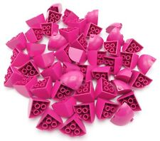 Lego Lot Of 50 New Magenta 3 X 3 X 2 Round Quarter Dome Tops Pieces