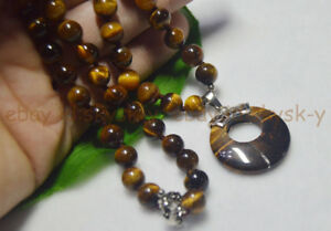 """8/10MM GENUINE TIGER'S EYE GEMS STONE ROUND BEAD NECKLACE RING PENDANT 16-25"""" AA"""