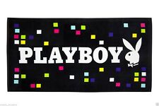 LICENSED PLAYBOY BEACH TOWEL BLACK COLOUR CHECKED WHITE BUNNY 75 CMS X 150 CMS