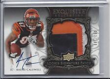 ANDRE CALDWELL 2008 UD EXQUISITE RPA 3 COLOR PATCH ON CARD AUTO RC #D 53/199