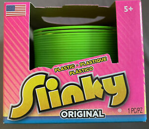 NEW The Original Slinky Plastic Green W/yellow Inner Rings