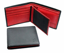 STARHIDE Mens Real Leather Wallet With Photo ID And Coin Pocket 1216 Black / Red
