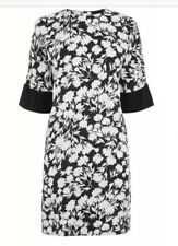 Warehouse Brushed Floral Shift Dress - Black White - Size 12