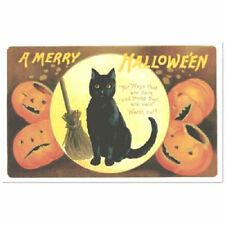 POST CARD Victorian Halloween Black Cat & Jack O Lantern Pumpkin Replica SAMHAIN