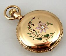 Antique Victorian Ladies Elgin 14k Solid Gold Pocket Watch Enameled Diamond