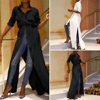 Women Long Sleeve Party Evening Long Maxi Top Ladies Office Buttons Shirt Blouse