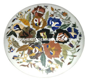 Marble Round Coffee Table Top Fine Inlay Mosaic Floral Arts Living Decor H951