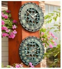 Metal Scrollwork Vintage Style Clock & Thermometer Outdoor Patio Set Wall Decor