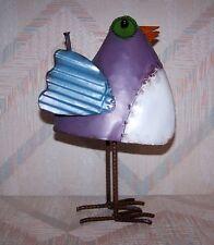 Bird Folk Art Figurine Regal Art Folk Bird Decor Purple