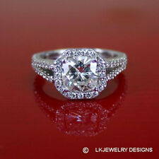 Ghi Halo Pave Split Shank Ring 2.10 Ct Moissanite Cushion Forever One