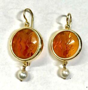14 K Gold MERCURY & CUPID AGATE INTAGLIO Dangle Earrings w/ Pearl