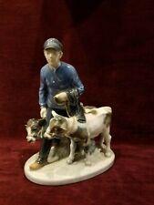 """Royal Copenhagen Denmark Figurine """"Boy with Calves"""" #1858"""