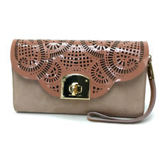 SERGIO ROSSI Pouch Mini bag Clutch bag Pink Beige Suede / Patent Leather