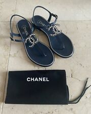 Chanel 19C Navy Blue CC Logo Ankle Thong Flat Women's Sandals sz 37 7