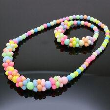 Cute 2016 Stylish Jewelry Fashion Necklace&Bracelet Set Baby Girls Candy Colors