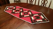 Floral Quilted Reversible Table Runner Patchwork Red Pink Flowers 19x54.5 NEW