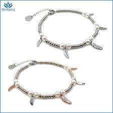 Bracciale da donna con piuma perle bianche in acciaio inox zirconi braccialetto