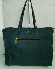 Prada Greenish Blue Nylon Large Shoulder Bag Double Handles Purse